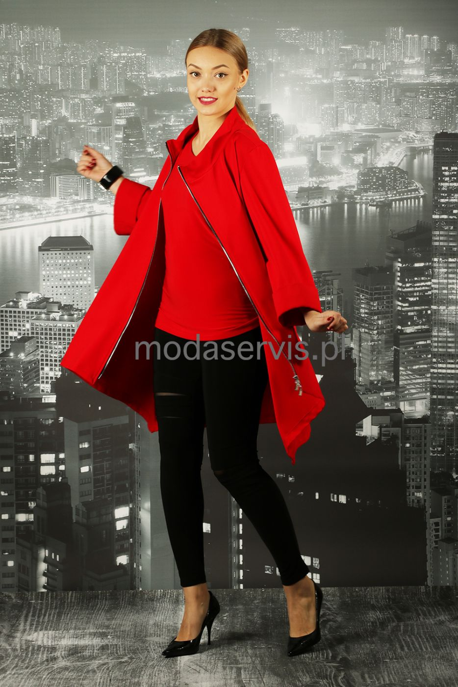 4b5ea967 Piękny czerwony płaszcz Ribkoff,rękaw 3/4.tył dłuższy. | sklep ...