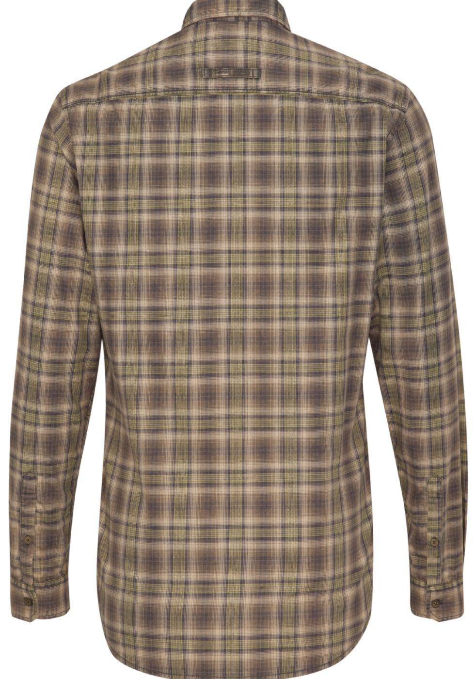 Koszula męska w seledynowo oliwkowo beżową kratę z  z4Jhk